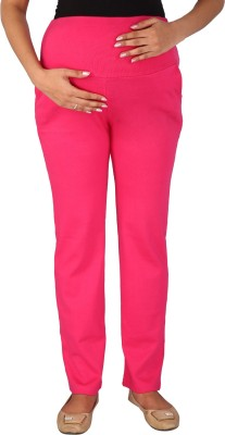Momtobe Solid Women's Pink Track Pants