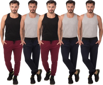Meebaw Self Design Men's Maroon, Maroon, Dark Blue, Dark Blue, Dark Blue Track Pants
