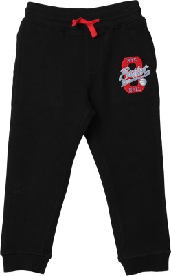 Beebay Embroidered Boy's Black Track Pants