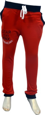 Puppet Nx Printed Boy's Red Track Pants