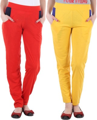 Coaster Solid Women's Red, Yellow Track Pants