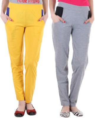 Coaster Solid Women's Yellow, Grey Track Pants