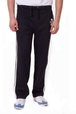 D-Green Solid Men's Black Track Pants
