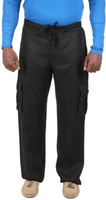Liash Solid Men's Linen Black Track Pants