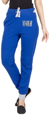 Campus Sutra Printed Womens Dark Blue Track Pants