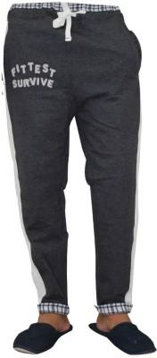 Vrexo Applique, Checkered Men,s Grey, White Track Pants