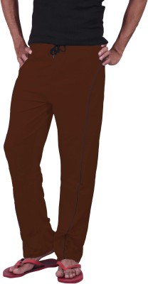 Genx Solid Men's Brown Track Pants
