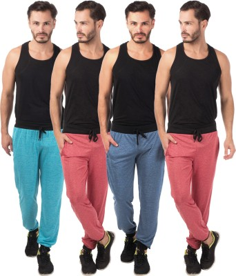 Meebaw Self Design Men's Red, Red, Dark Blue, Blue Track Pants