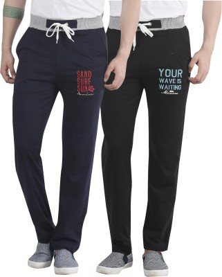Maniac Embroidered Men's Black, Dark Blue Track Pants