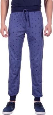 Sprig Graphic Print, Solid Men's Blue Track Pants