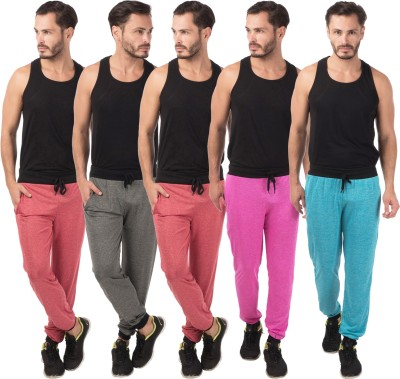 Meebaw Self Design Men's Red, Red, Grey, Pink, Blue Track Pants