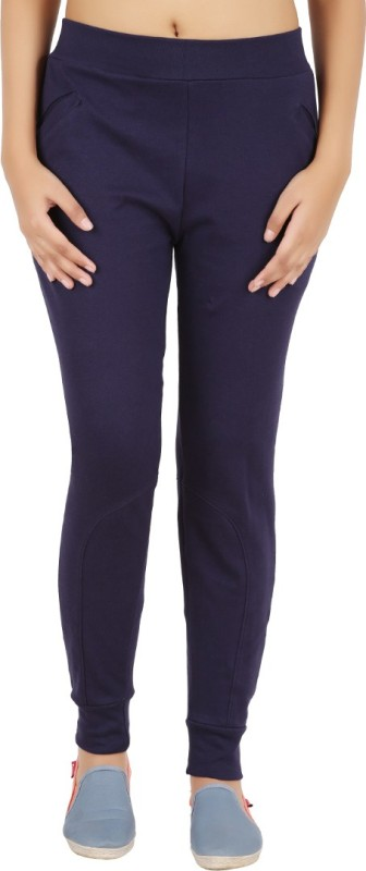 Notyetbyus Solid Women's Dark Blue Track Pants