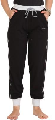 Colors & Blends Solid Women's Black Track Pants