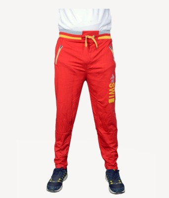 NGT Embroidered Men's Red Track Pants