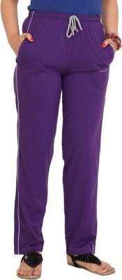 Colors & Blends Solid Women's Purple Track Pants