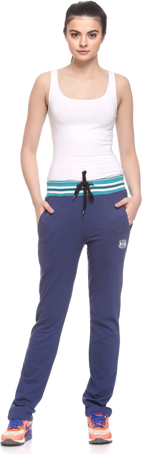 EX10SIVE Solid Womens Dark Blue Track Pants