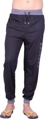 Huggers Summer Trackpant Bottom Ribbed Logo Print Solid Men's Grey Track Pants