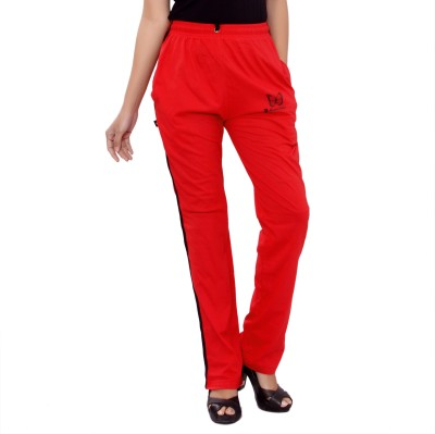 JTInternational Solid Women's Red Track Pants