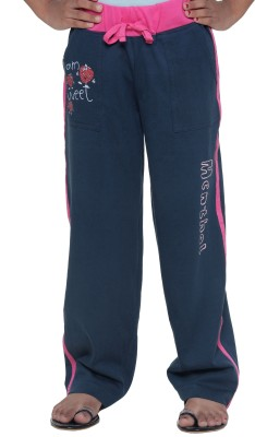 Menthol Solid, Printed Girls Dark Blue Track Pants