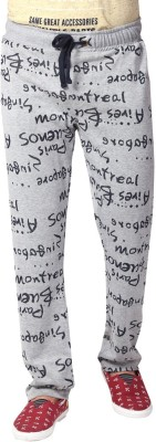 YOO Printed Men's Grey Track Pants