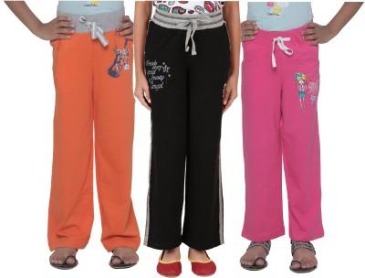 Menthol Printed, Embroidered Girl's Orange, Black, Pink Track Pants