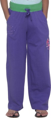 Menthol Printed, Embroidered Girl's Purple Track Pants