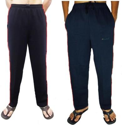 Bluedge Solid Men,s Black, Dark Blue Track Pants