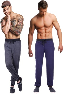 Billu Oye Solid Men's Grey, Dark Blue Track Pants