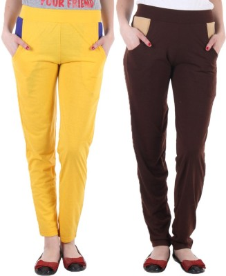 Coaster Solid Women's Yellow, Brown Track Pants