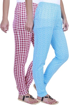 Eshelle Checkered, Floral Print Women's Pink, White, Blue Track Pants