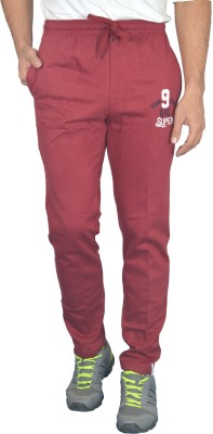 Griffel Solid Men's Maroon Track Pants