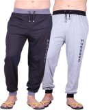 Huggers Solid Men's Grey, Black Track Pa...