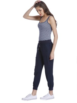 Only Solid Women's Blue Track Pants