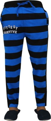 Vrexo Applique, Striped Men,s Black, White Track Pants