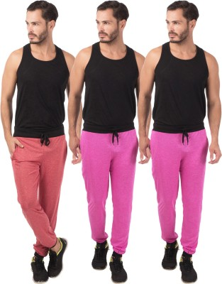 Meebaw Self Design Men's Red, Pink, Pink Track Pants