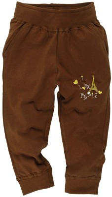 Oye Printed Girl's Brown Track Pants