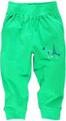 Oye Printed Girl's Green Track Pants