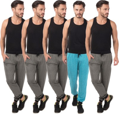 Meebaw Self Design Men's Grey, Grey, Grey, Grey, Blue Track Pants