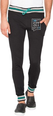 Campus Sutra Printed Men's Black Track Pants