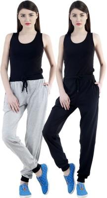 Dee Mannequin Self Design Women's Grey, Black Track Pants at flipkart