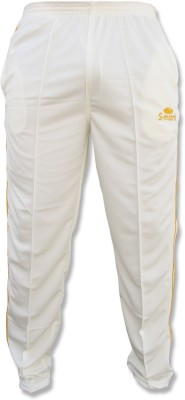 S-Mark Sweat-Control Cricket Solid Men's White Track Pants
