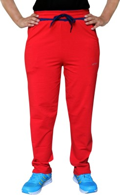Pepe Rosso Solid Women's Red Track Pants