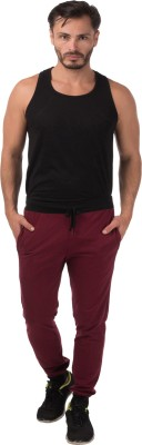Meebaw Self Design Men's Maroon Track Pants