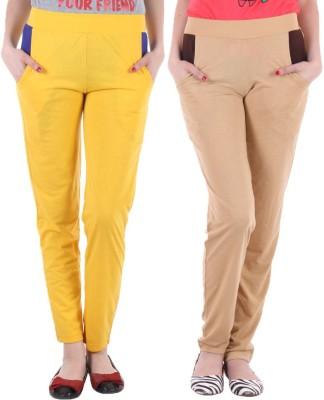 Coaster Solid Women's Yellow, Beige Track Pants