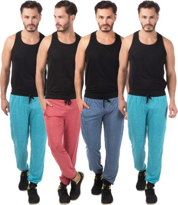 Meebaw Self Design Men's Red, Dark Blue, Blue, Blue Track Pants