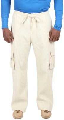 Liash Solid Men's Linen Beige Track Pants