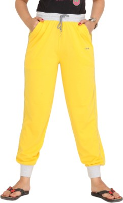 Colors & Blends Solid Women's Yellow Track Pants