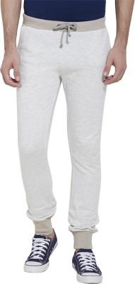 Slub Solid Men's Beige Track Pants