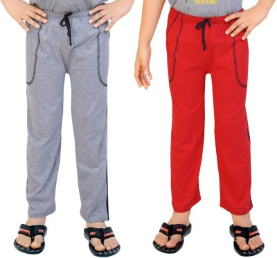 Be 13 Solid Baby Boy's Grey, Red Track Pants