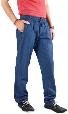 MountainColours Solid Men's Denim Blue Track Pants